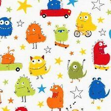 Robert Kaufman Cotton Fabric. Monsters in Park. Bright. Blue. Boys. By the FQ