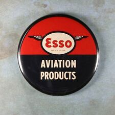 """Vintage Tin Sign Photo Fridge Magnet 2 1/4""""  Esso Aviation Products Airplane"""