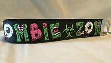 "Zombie Retro Black Key Fob Wristlet Key Chain 1"" Ribbon Zombie Horror 80s"