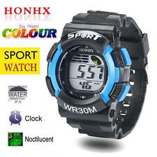 Men Boys LED Digital Alarm Date Rubber Army Watch Waterproof Sport Wristwatch Y4