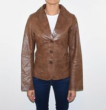 Brown Leather ESTELLE Hips Length Fitted Button Women's Blazer Jacket Size S