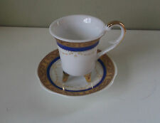 Limoges Miniature Coffee Can & Saucer Gold Gilded Blue