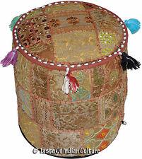 """Brown 12"""" Handmade Round Ottoman Pouf Small Footstool Chair Embroidered India"""
