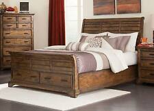 RUSTIC SLATTED PLANKS KING FOOT BOARD STORAGE BED BEDROOM FURNITURE