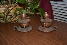 Vintage Pair of Copper Oil Lamps with wicks