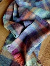 Mulberry Scarf Country Plaid Wool Teal Rust Aubergine Purple New Tweed blue pink