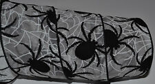 Wired Ribbon~Sheer~Halloween Black Spider~White Cob Web~Fall~Holiday~Wreath~Bow