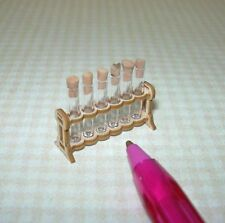 Miniature German Handcrafted Small Test Tube Rack, 6 Test Tubes DOLLHOUSE 1/12