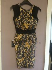 Ax Paris Black/Multi Cut Out Back Peplum Scuba Bodycon Dress Size 4