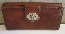 Coach Brown Burnished Leather Wallet 53605 Silver Turnlock EUC