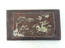 ancien petit panneau bois de fer canton chine chinois 19 eme nacre