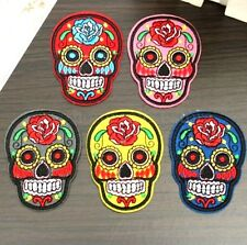 FD3606 Punk Skull Flower Iron On Applique Embroidered Sewing Patch Sticker 1pc