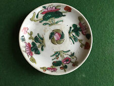 Antique Chinese Porcelain Plate Famille Rose Peach Fruit Lotus Flowers