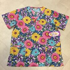 SILKY SCRUBS MICROFIBER UNIFORM TOP FLORAL SMALL SHORT SLEEVE V NECK NURSE DOC