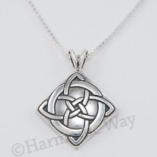 "CELTIC GOOD LUCK symbol charm Knot Pendant 925 Sterling Silver 18"" Necklace"