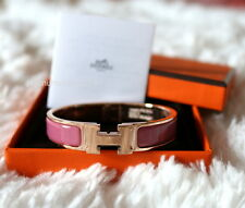 NIB Authentic Hermes H Clic Clac Rose Velours Pink Enamel Rose Gold GHW Bangle