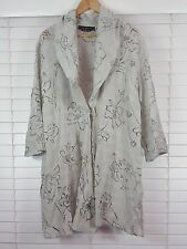 MAGGIE T sz 18 womens Linen Blend Floral Cut Out Jacket