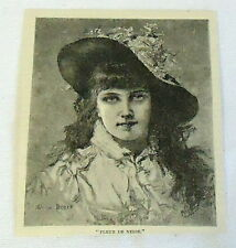 1883 magazine engraving~ FLEUR DE NEIGE pretty young french woman with hat