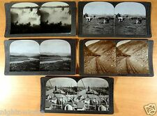 ARGENTINA 5 Stereoviews 3D Social History COG RAILROAD ANDES Docks Buenos Aires