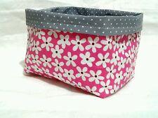 Utensilo Körbchen Blumen rosa Stoff Punkte Wende Korb handmade Windel Organizer