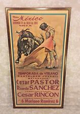 Vintage David Cardenas 1983 Spanish Matador and Bull Fight Poster in Frame Pla