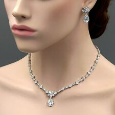 18K White Gold GP Clear Zirconia CZ Necklace Pendant Earrings Jewelry Set 08195