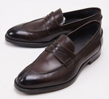 NIB $950 SUTOR MANTELLASSI Dark Brown Calf Leather Penny Loafers US 7 D Shoes