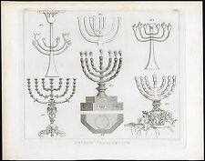 Antique Print-MENORAH-GOLDEN CANDLESTICK-TABERNACLE-Calmet-1800