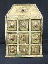Distressed Wood Green & Lotus Flower, Apothecary Style Jewelry Case, 10 Drawer