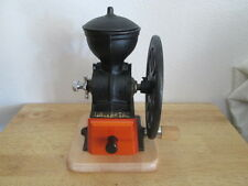 Coffee Mill Spice Grinder Old Style Big Wheel Cast iron Wood/ butcher block base