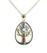 """Tree of Life Chakra Natural Stone Necklace, 18"""" Chain and 3"""" Extender included"""