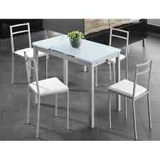 Mesa de cocina extensible 110/170x70 de cristal y metal. Envío asegurado.