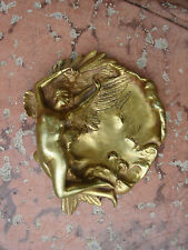 Vtg Sign Somme Wings Nudy Lady Woman Solid Bronze Brass Coin Ash Pin Tray Dish