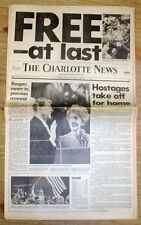2 1981 headline display newspapers IRAN FREES AMERICAN HOSTAGES after 444 days !