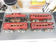 Ives #3241 Red Electric Locomotive and 3 Red Passenger Cars (184,185,186)