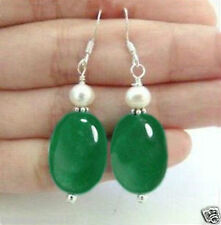 Beautiful Natural green jade south sea White shell pearl Earrings