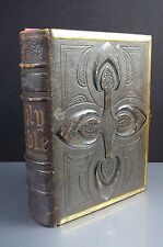 Rare Antique Leather Bound, Gold Leaf And Brass Clasped Bible Circa Early 1800