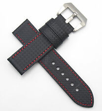 26mm Watch Band Strap NEW Free Ship Carbon Fiber Leather Black / Red Stitch
