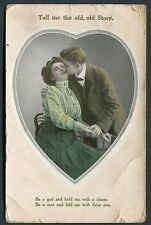 Posted 1910 from Dover - Romance Card - Couple 'Tell Me the Old, Old Story'