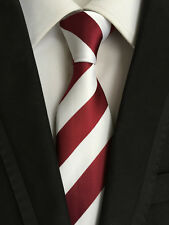 New Classic Striped Wine Red White JACQUARD WOVEN 100% Silk Men's Tie Necktie