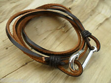 Fish Hook Large Silver Effect Charm Genuine Leather & Cord Wraparound Bracelet