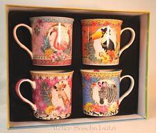 Kaffeetassen Teetassen 4er Set in Box Porzellan Giraffe Zebra Beo Flamingo - NEU