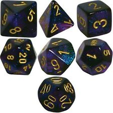 Polyhedral 7-Die Borealis Chessex Dice Set - Royal Purple with Gold Numbers