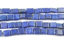Blue Lapis Luzuli Smooth Flat Rectangle Beads Strand - 13 INCHES - 7 MM - 10 MM