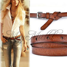 Lady Girl Thin Leather Floral Carving Waist Buckle Belt Brown Color