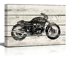 WoodCut Stencil Motorcycle Artwork - Rustic Canvas Wall Art Home Decor - 24x36