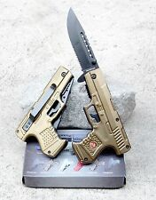 Olive Gold Marines Pistol Gun Shaped Knife Spring Assisted Folding Pocket Blade
