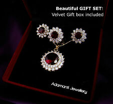 Gift w/ box 18K GP Garnet Flower Crystal Necklace Earrings Ring Bridal Set