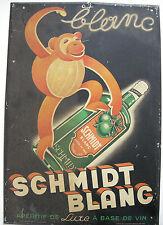 Plakat Metall Werbung Reklame Aperitif de Luxe Schmidt blanc Brüssel 1900 Belge