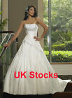 Elegant Taffeta Wedding Dresses Bridal Gowns Size 8 10 12 14 16 UK Stock
